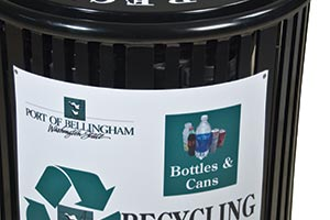 Reading Litter Receptacle with recycling Decal