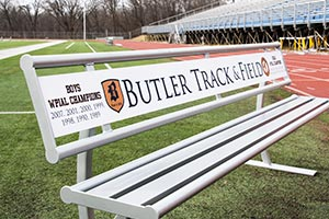 Track and Field signage on Penn Bench with Back