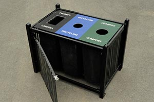 Custom Square Reading Receptacle for Trash, Recycling, and Compost