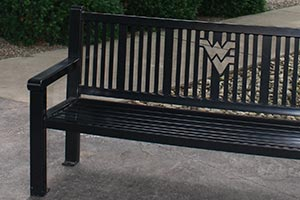 Black Reading bench with laser cut university logo