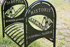 Ashtabula Harbor crane bike rack laser cut
