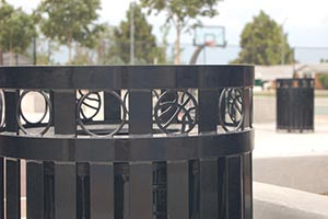 Basketball shaped laser cut designs on a Litter Receptacle