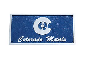 Blue Colorado Metals logo plaque