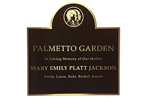 Large custom sized memorial plaque for public gardens