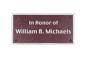 Maroon personal commemorative plaque