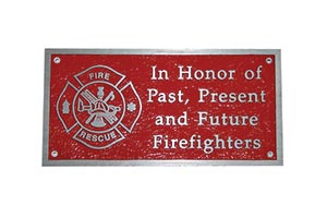 Red Firefighter commemorative plaque