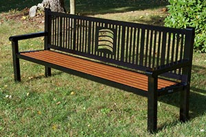 Wood Grain Aluminum Slats on Reading Bench with Back and laser cut logo