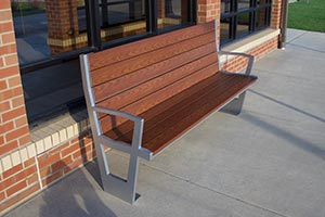 Wood Grain Aluminum Slats on Creekview Bench with Back