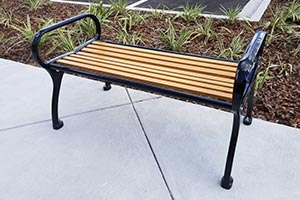 Wood Grain Aluminum Slats on Schenley Flat Bench