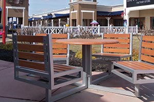 Wood Grain Aluminum Slats on Hapsburg Table Set at a shopping center