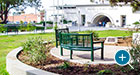Curved Reading benches offer ample seating outside a public library