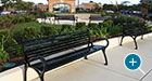 A collection of Schenley Benches with Back in a shopping plaza
