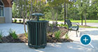 Harmony Litter Receptacles pair well with Pullman Benches