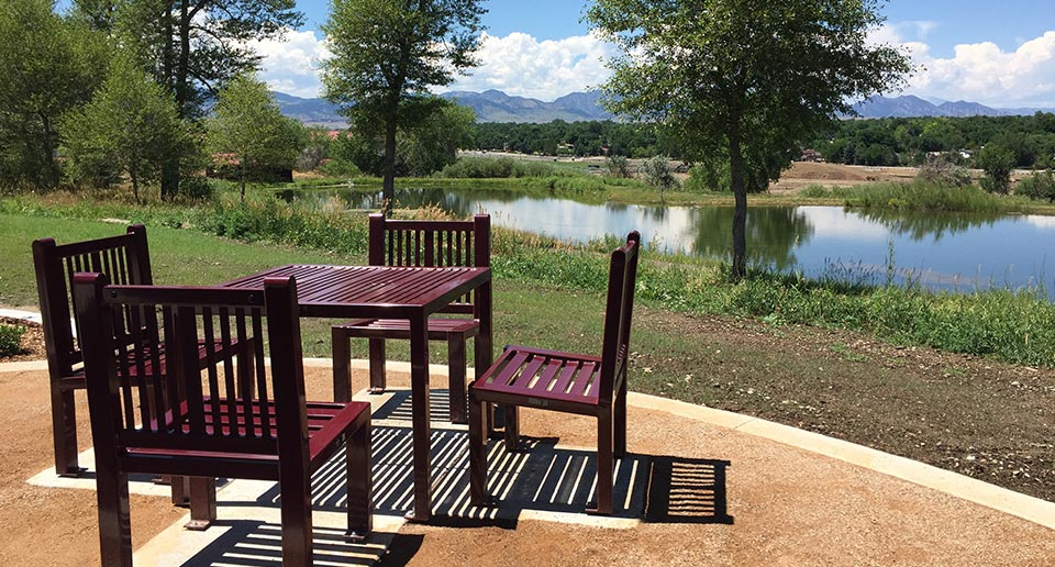 Custom Reading Table and Chair set with scenic background