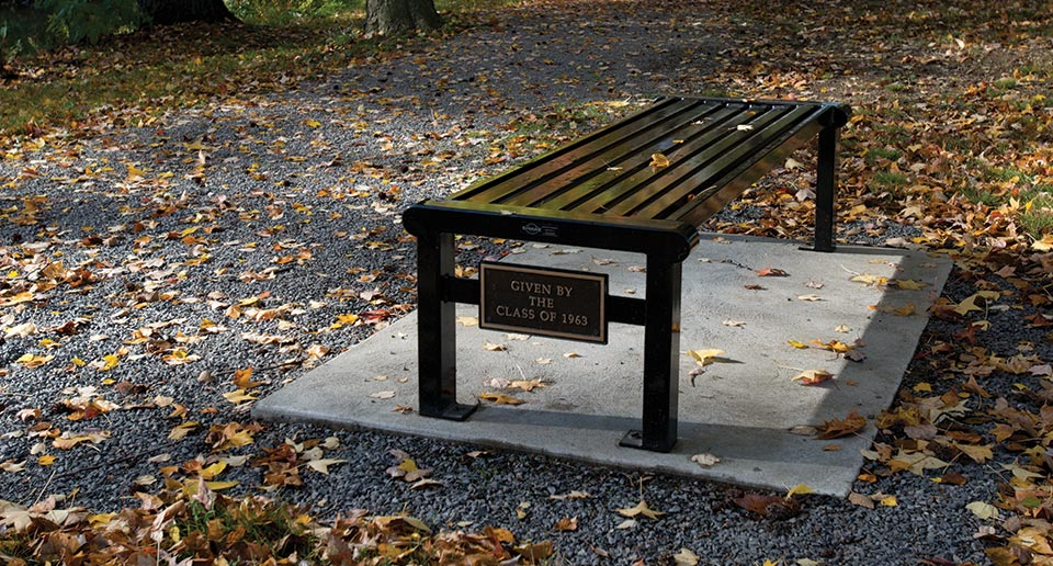 Custom Reading Flat Bench with dedication cast bronze plaque