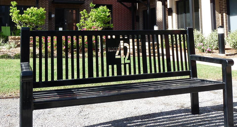 Custom Reading Bench with Back and laser cut logo