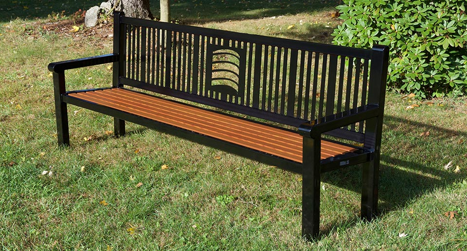 Custom Reading Bench with Back, laser cut logo, and aluminum wood grain slats