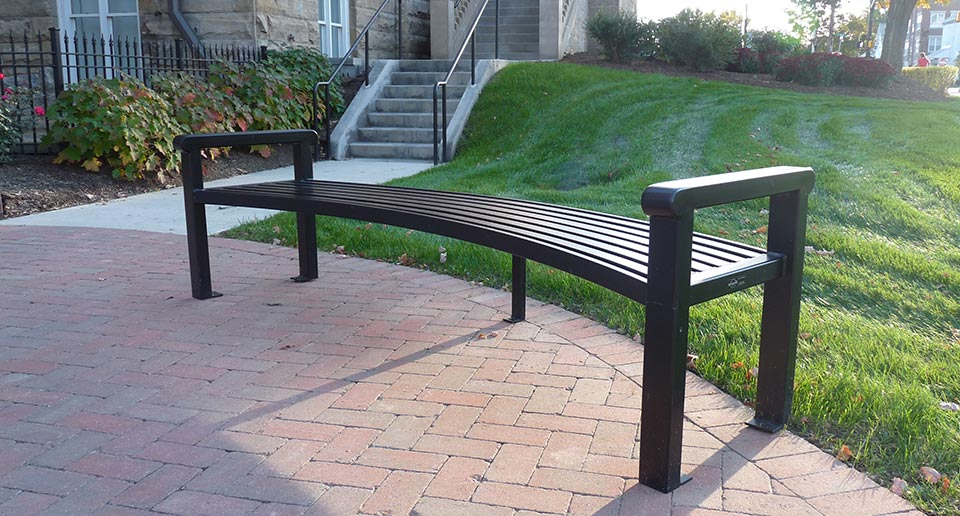 Custom Curved Reading Flat Bench on a college campus