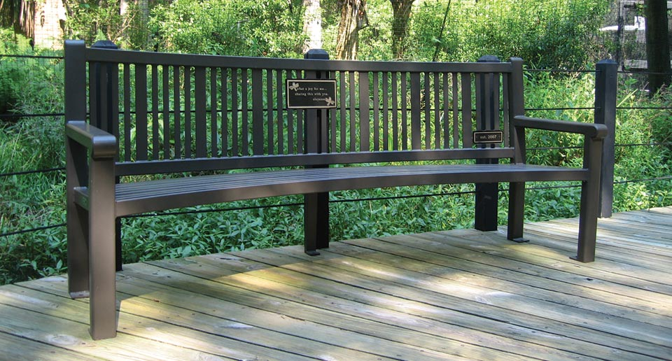 Custom Curved Reading Bench with Back and cast bronze plaque