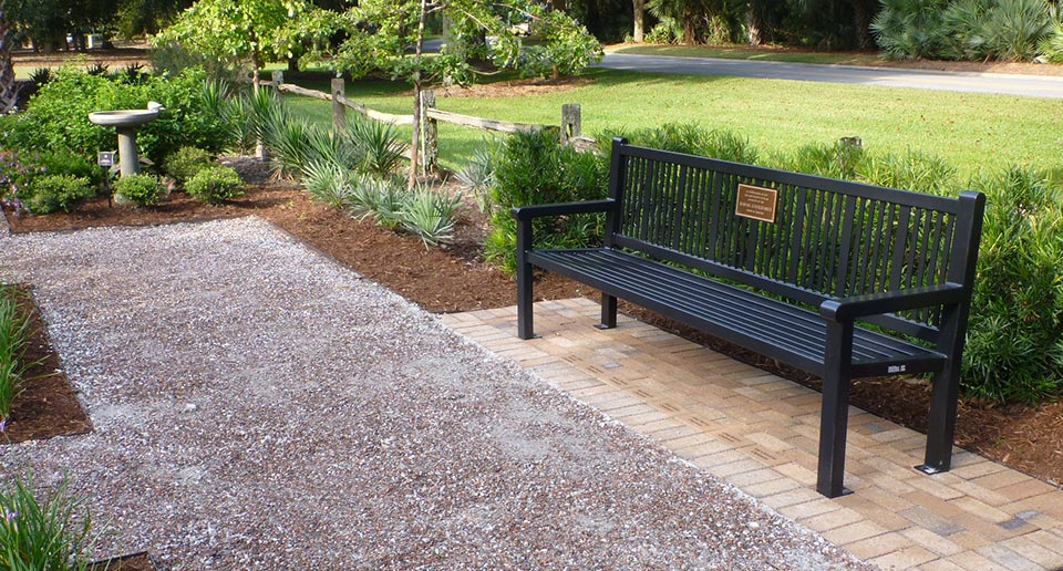 Custom Reading Bench with Back and cast bronze plaque
