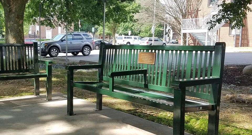 Custom Reading Bench with Back, center arm, and cast bronze plaque