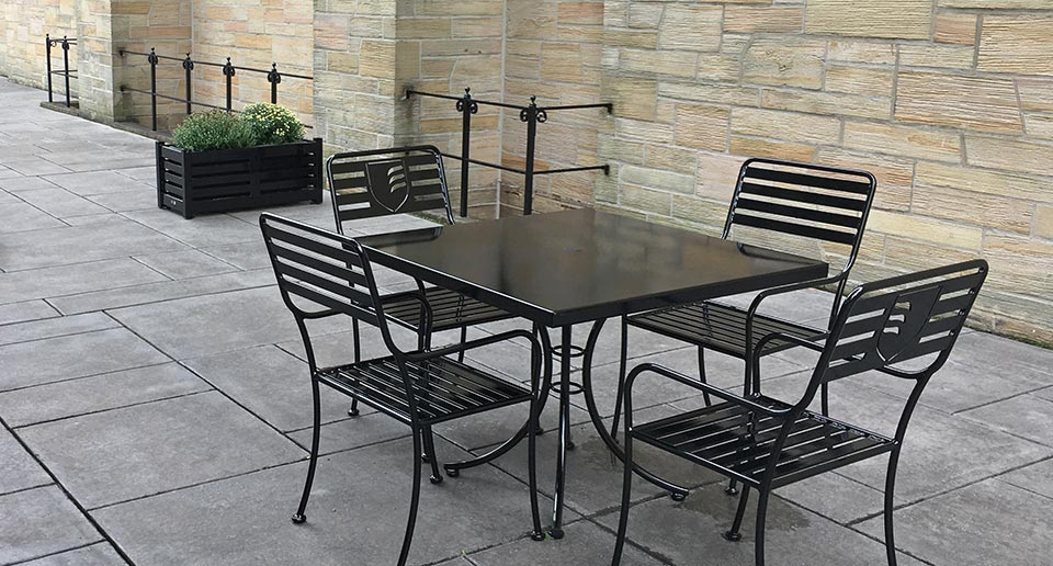 Branded Courtyard Table Set with a school logo