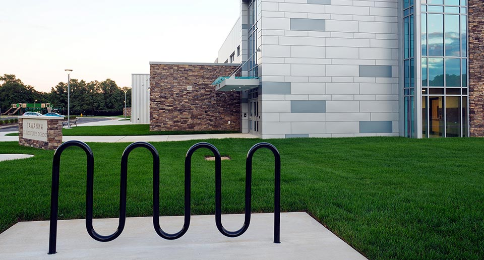 Sonance 7-Loop Bike Rack outside of an Elementary School