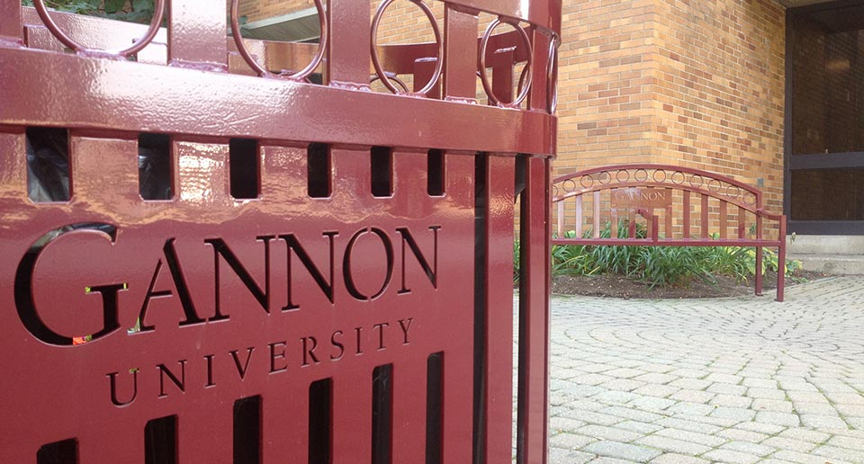 Branded Atlanta Dual Receptacle and Bench with university laser cut logos