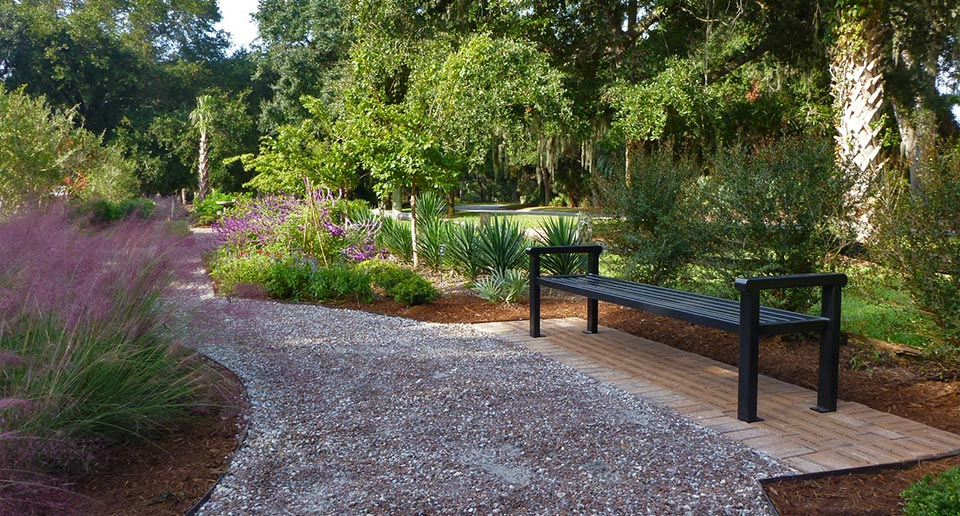 Flat Reading Bench in a picturesque botanical garden