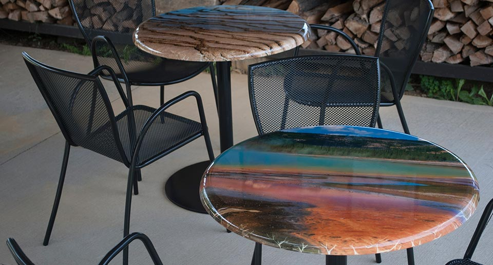 Contra Tables display custom KeyshieldArt landscape photography samples