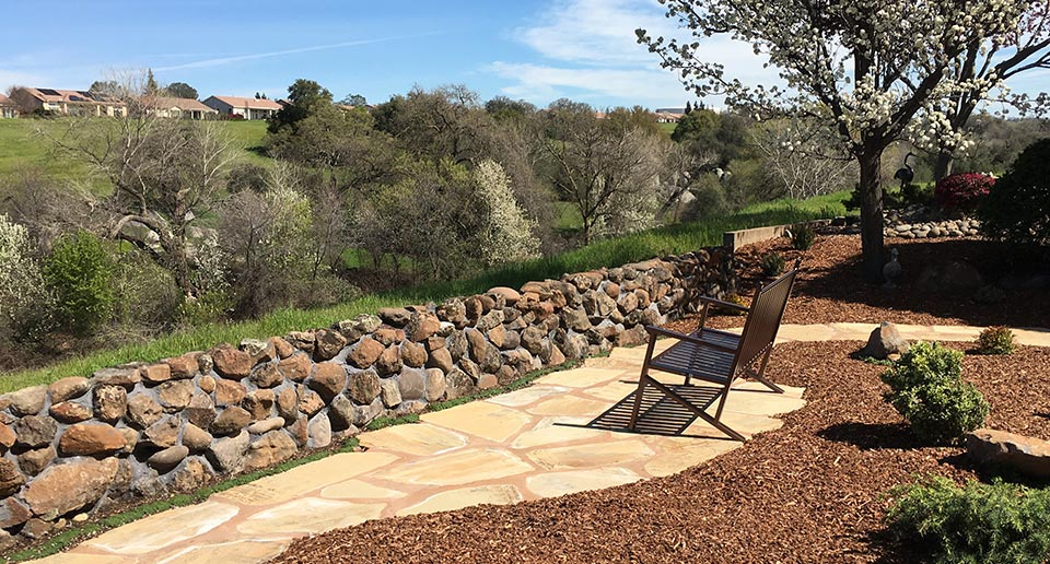 Thendara Bench with Back in a scenic residential location