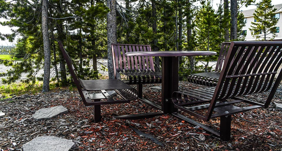 Hapsburg Table Set situated outside a National Park Ranger Station