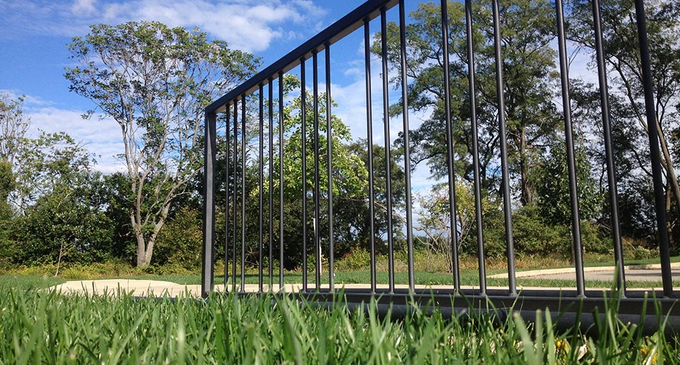 Reading Bike Rack set against a background of spring foliage