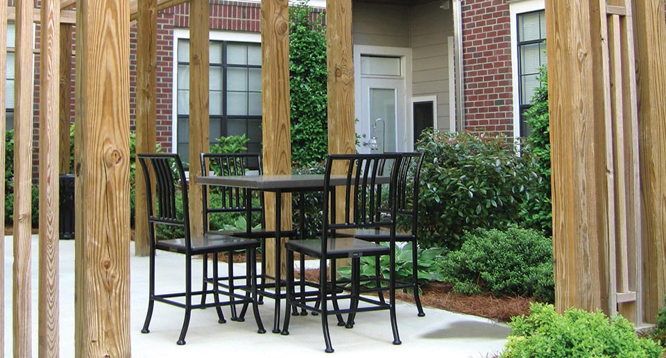 Cabaret Table Sets offer outdoor seating for residential complexes