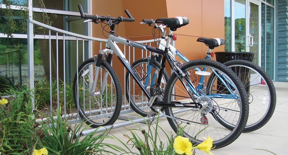 Exeter Bike Rack getting good use outside of a new healthcare building