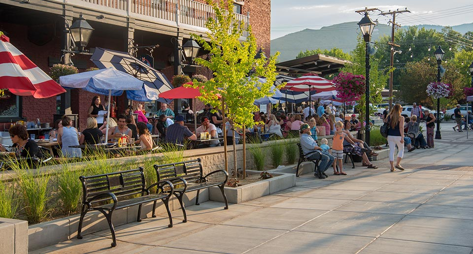 Schenley Benches with Back outside an open air restaurant
