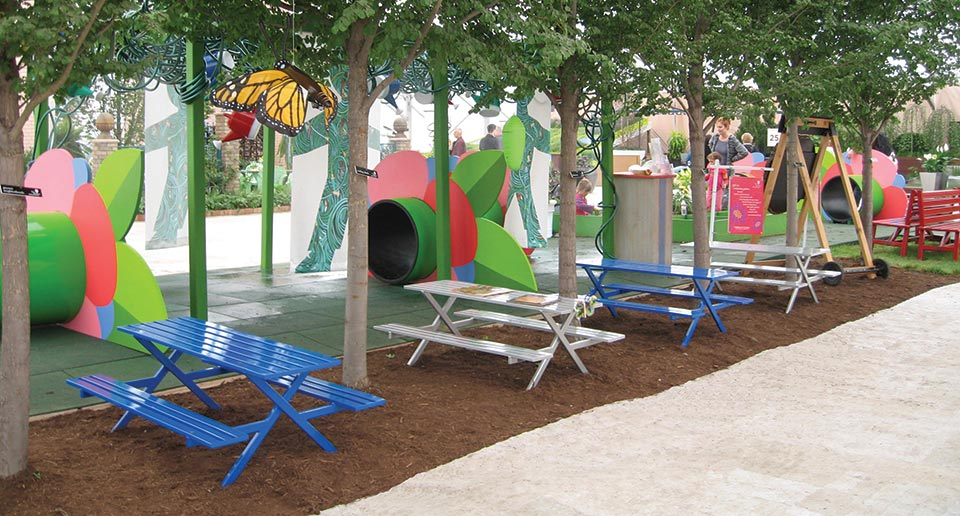 Breakwater Table Sets set up in a Children's Butterfly Garden