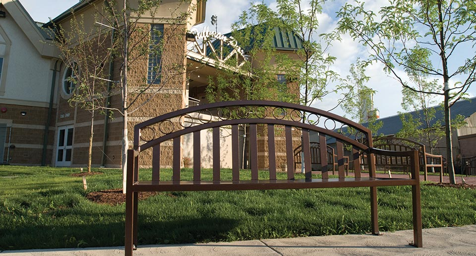 Atlanta Bench with Back outside a local baseball stadium