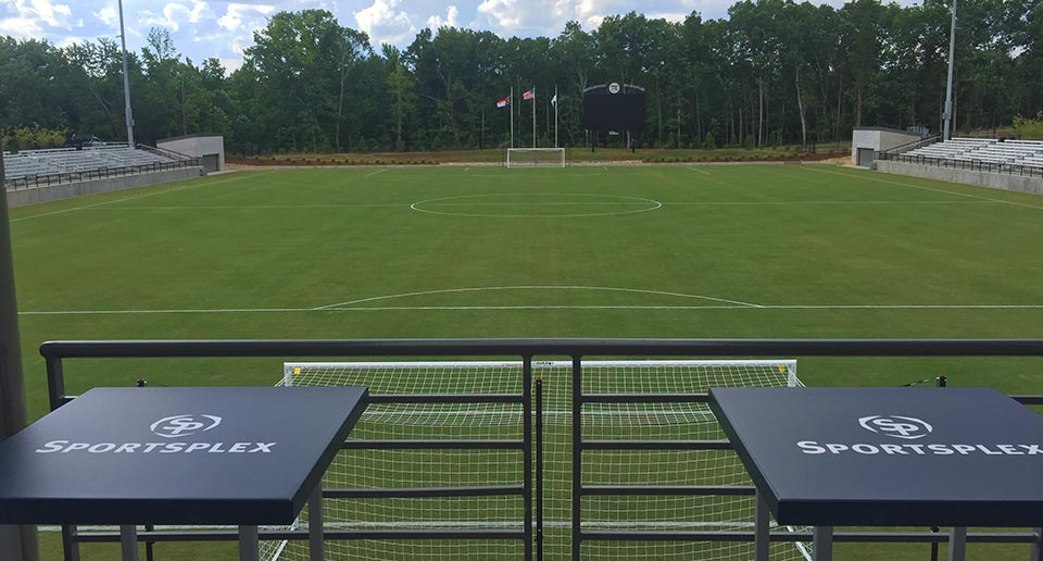 Weston Table Tops finished with a KeyshieldArt custom logo for a sports complex