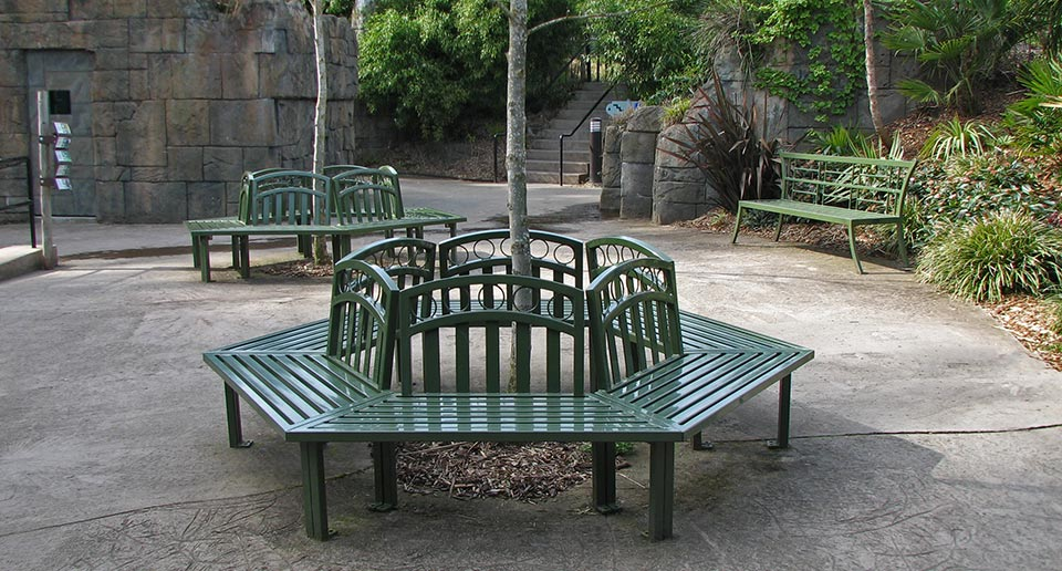 Atlanta Tree Benches with Back at a community zoo