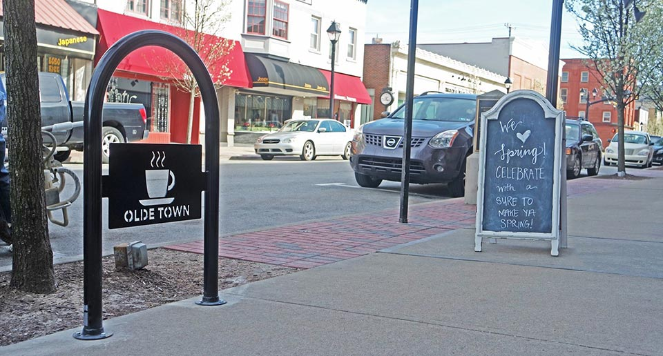 Sonance 1-Loop Bike Rack with a laser cut logo design