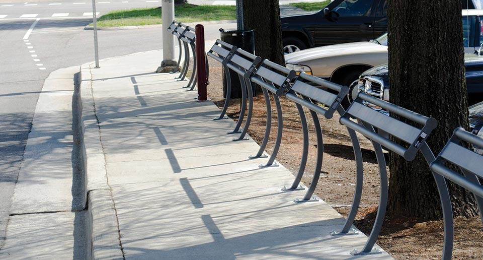 Penn Leaning Rails installed at a public bus stop