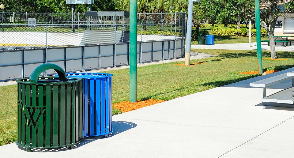 Penn Dual Receptacle for Trash and Recycling at a public sports complex