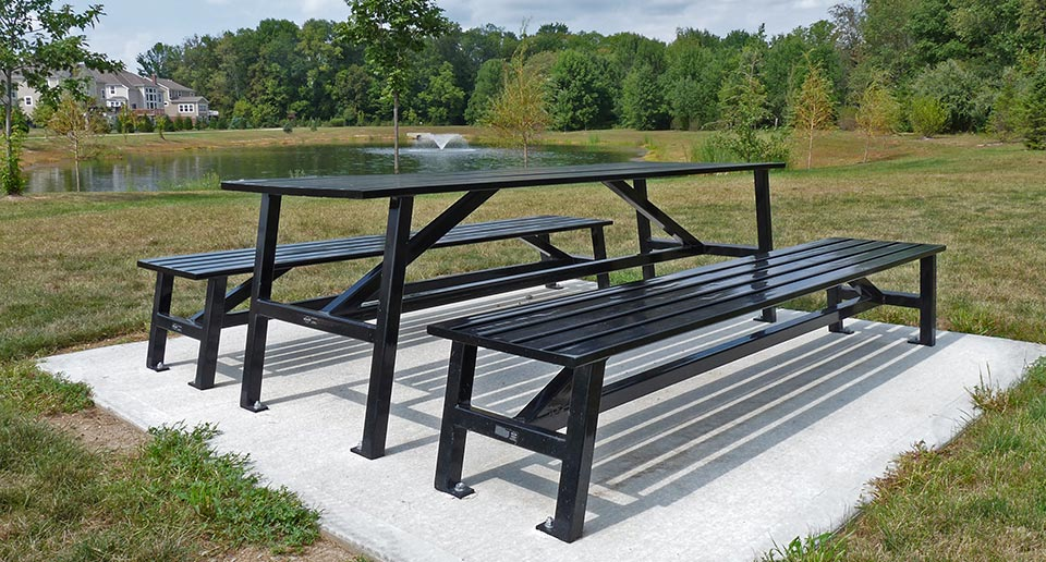 Breakwater Table Sets for picnickers in a public park