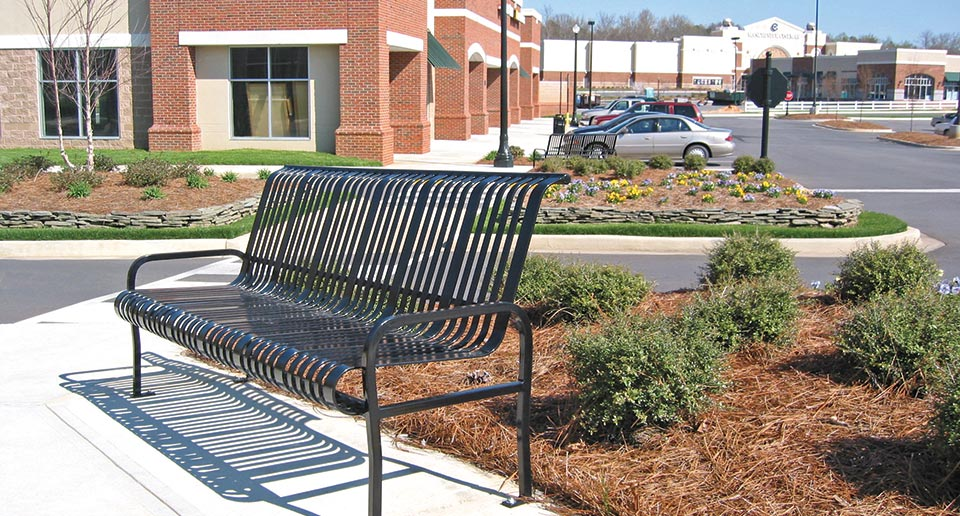 Midtown Bench with Back on site in a retail setting