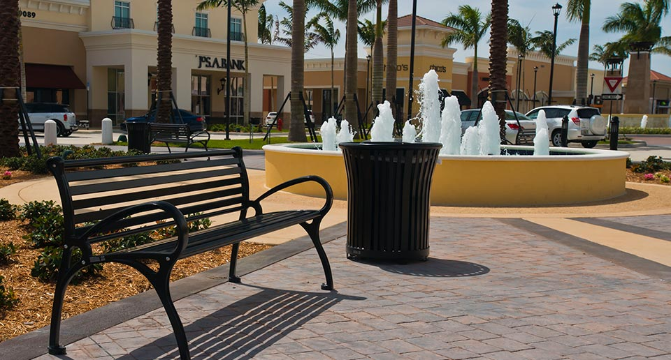 Schenley Bench with Back and Harmony Litter at outdoor retail outlet