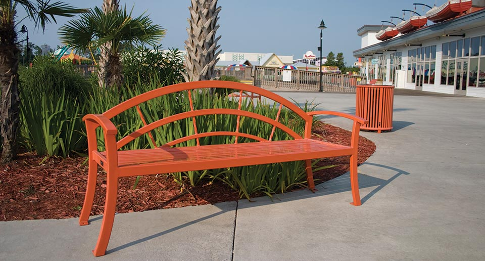 Kerrington Bench with Back and Reading Litter on a retail boardwalk