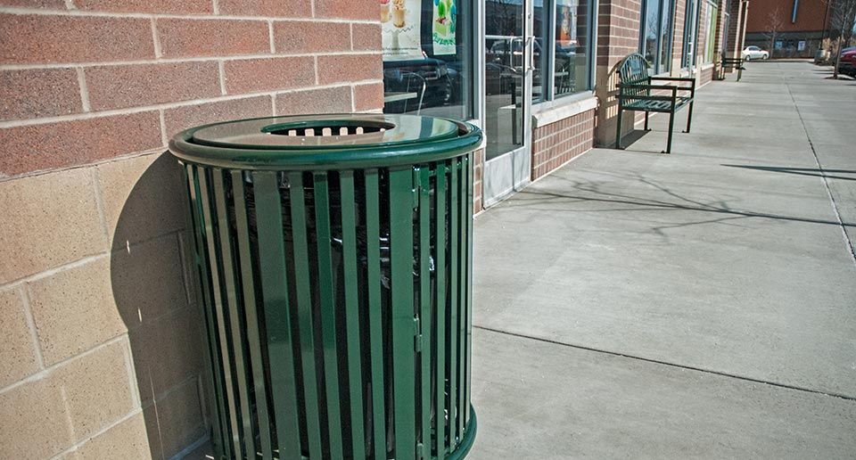 Reading Litter Receptacle with Door at outdoor shopping mall