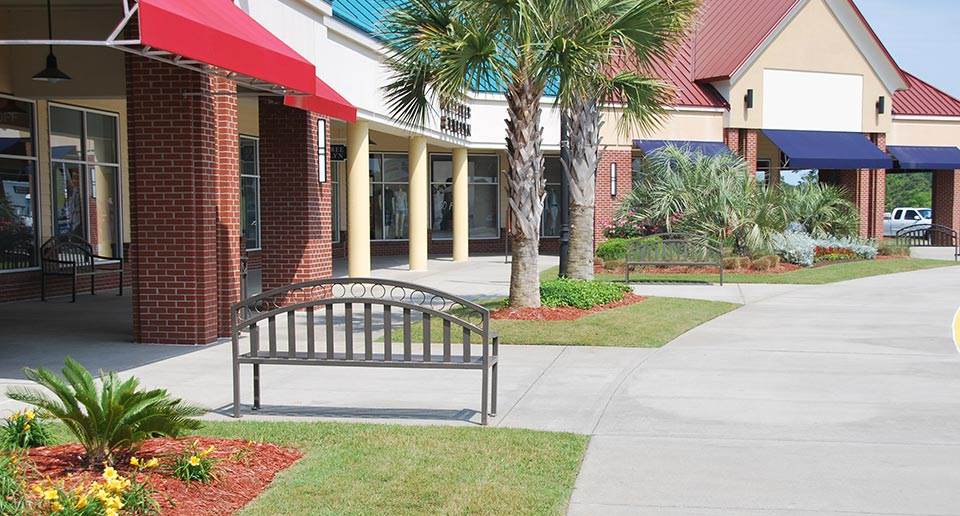 Atlanta Bench with Back at commercial retail outlet