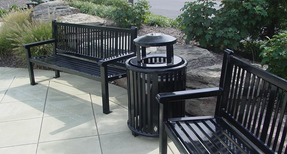 Reading Litter Receptacle and Benches with Back in an outdoor retail environment